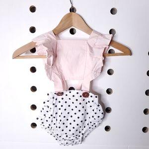 NEW Baby Infant Polka Dot Pink Romper